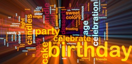 light streaks: Word cloud concept illustration of birthday celebration glowing light effect