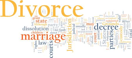 dissolution: Word cloud concept illustration of divorce marriage
