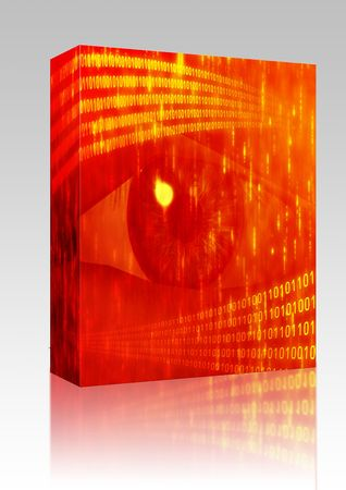 zeros: Software package box Eye viewing digital information represented by ones and zeros Stock Photo
