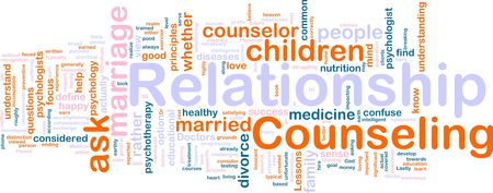 psychotherapy: Word cloud concept illustration of  relationship counseling
