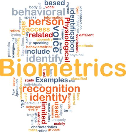 behavioral: Word cloud concept illustration of biometrics recognition