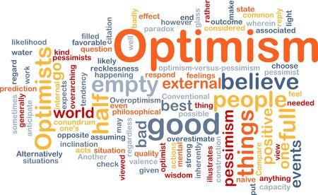 optimismo: Ilustraci�n de concepto de nube de Word de optimismo optimista