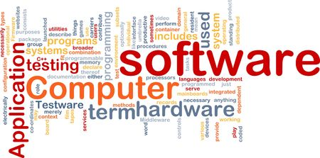 hardware configuration: Word cloud concept illustration of computer software