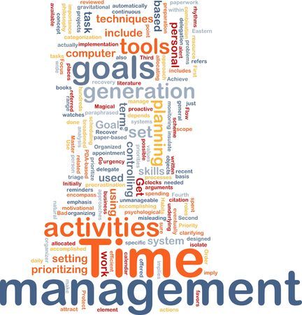 Delegation: Word cloud concept illustration of time management Stock Photo