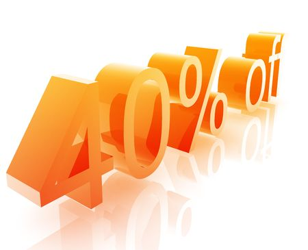 retailing: Forty Percent discount, retail sales promotion announcement illustration