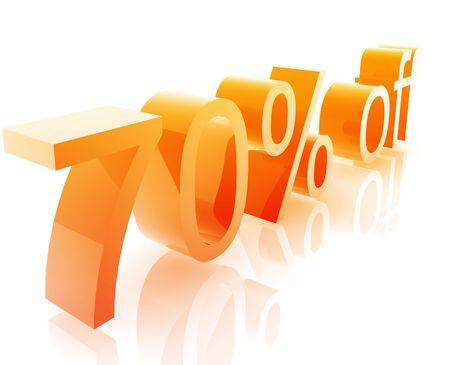 retailing: Seventy Percent discount, retail sales promotion announcement illustration Stock Photo