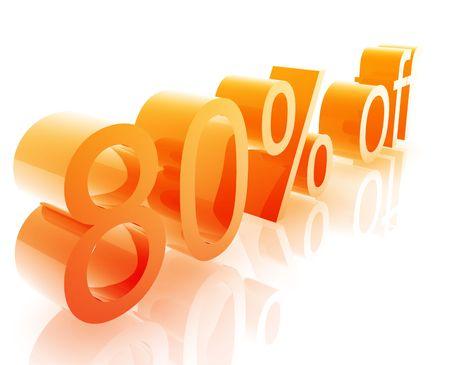 achtzig: Achtzig Prozent Rabatt, Retail sales Promotion Ank�ndigung illustration