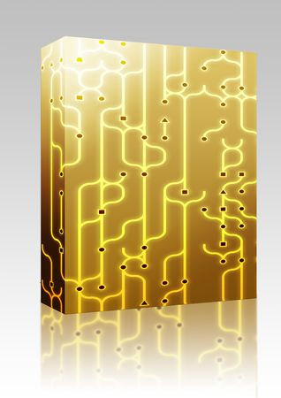nexus: Software package box Abstract illustration of circuitry electronic pattern design Stock Photo