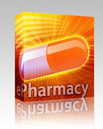 Software package box E-medicine, Online medicine, ecommerce health pharmacy illustration illustration