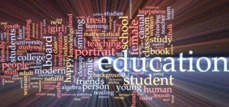 Word cloud concept illustration of education studies glowing light effect  illustration