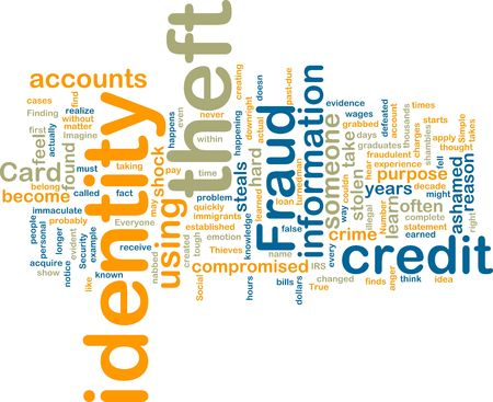 theft proof: Word cloud tags concept illustration of identity theft