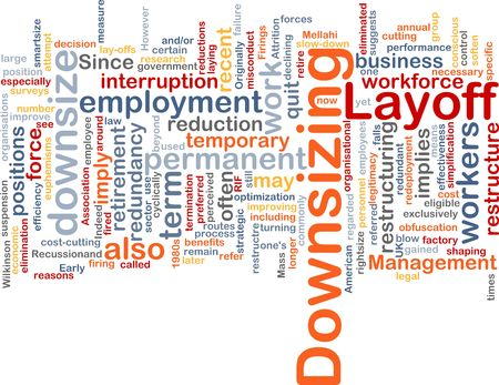 downsizing: Word cloud concept illustration of downsizing restructuring Stock Photo