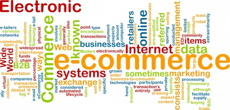 echange: Word cloud concept illustration of e-commerce electronic commerce