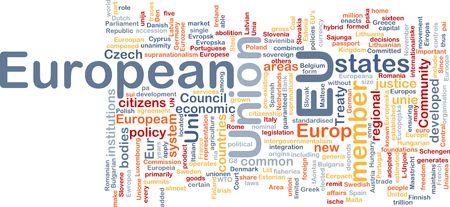 eu: Word cloud concept illustration of EU European Union Stock Photo
