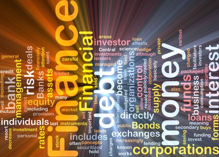 managed: Word cloud concept illustration of money finance glowing light effect