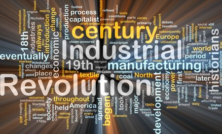industria textil: Ilustraci�n de concepto de nube de Word de efectos de luz resplandeciente de revoluci�n industrial