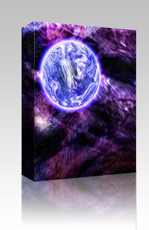 scienceficton: Software package box Science fiction planet complex space scene illustration