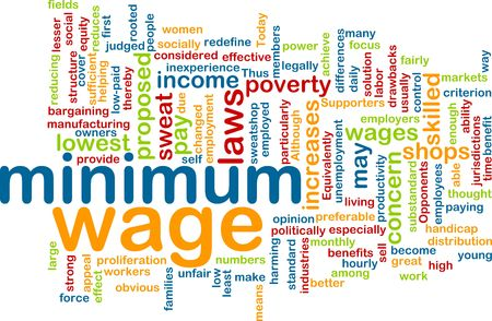 Word cloud concept illustration of minimum wage Stock Photo