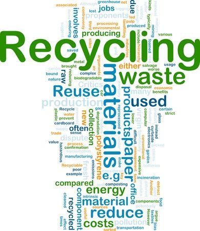 reciclaje papel: Ilustraci�n del concepto de fondo de reciclaje de materiales de desecho  Foto de archivo