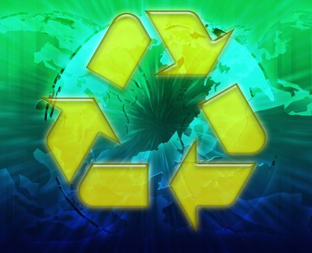 wastage: Global recycling eco symbol background concept collage illustration