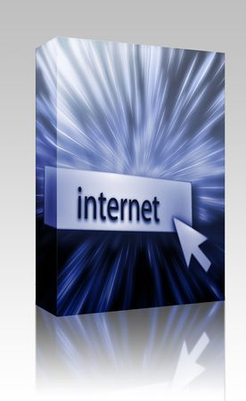 clicking: Software package box Internet button, illustration clicking on web technology