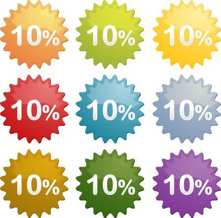 Ten percent discount sale emblem seal symbol different colors photo