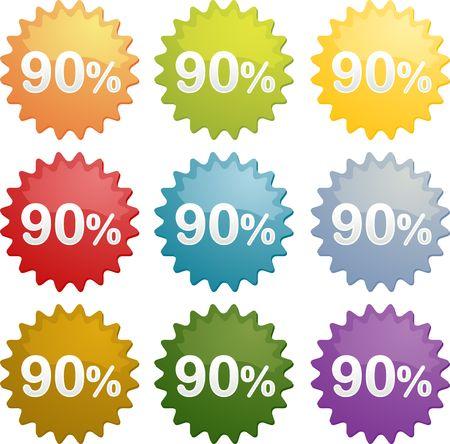 Ninety percent discount sale emblem seal symbol different colors photo