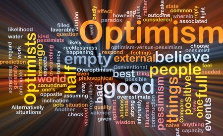 pessimist: Word cloud concept illustration of optimism optimist glowing light effect  Stock Photo