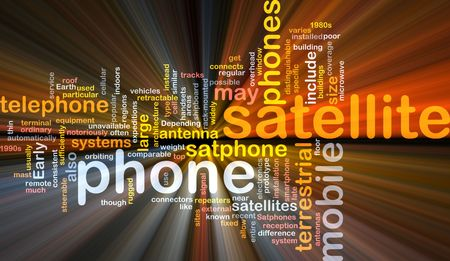 microwave antenna: Word cloud concept illustration of satellite phone glowing light effect