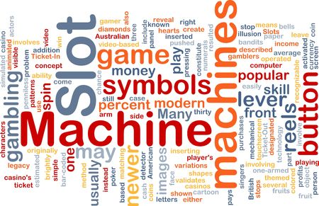 themed: Background concept wordcloud illustration of slot machine gambling