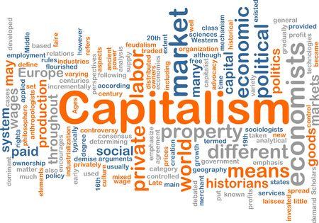 capitalismo: Ilustraci�n de concepto de nube de Word de econom�a de capitalismo  Foto de archivo