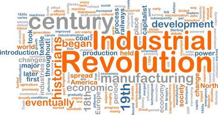 Word cloud concept illustratie van industriële revolutie Stockfoto