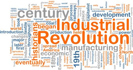 Ilustración de concepto de nube de Word de la revolución industrial