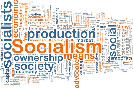 libertarian: Word cloud concept illustration of socialism economy