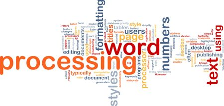 subtitles: Word cloud concept illustration of word processing