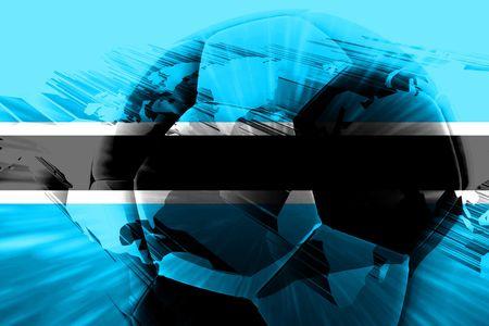 botswana: Flag of Botswana, national country symbol illustration sports soccer football Stock Photo