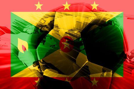 grenada: Flag of Grenada, national country symbol illustration sports soccer football