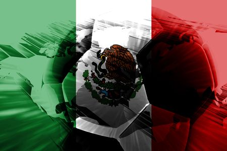 Flag of Mexico, national country symbol illustration sports soccer football