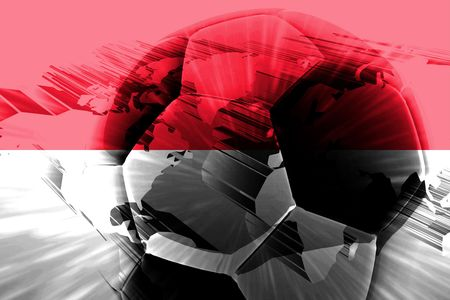 Flag of Monaco, national country symbol illustration sports soccer football illustration