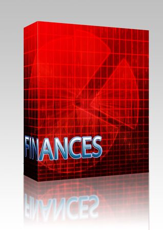Software package box Illustration of financial budgeting finance and business pie chart illustration