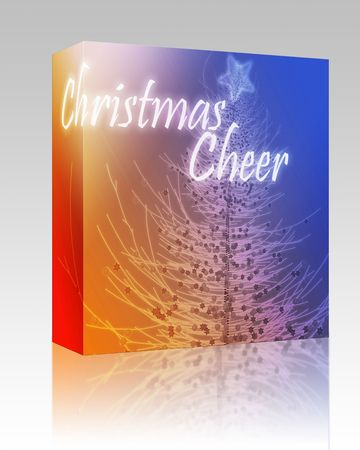 ch: Software package box Merry christmas seasons greetings on tree illustration Stock Photo