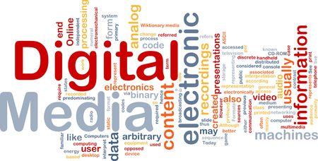 media distribution: Background concept wordcloud illustration of electronic digital media Stock Photo