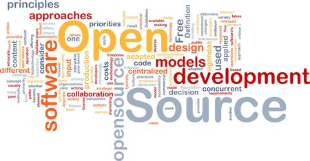 concurrent: Background concept wordcloud illustration of open source license
