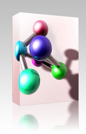 atomic structure: Software package box Molecule model molecular atomic structure illustration, glossy chrome  Stock Photo