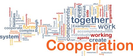 forced: Background concept wordcloud illustration of cooperation management together Stock Photo