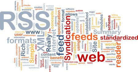 syndicated: Background concept wordcloud illustration of internet RSS feed