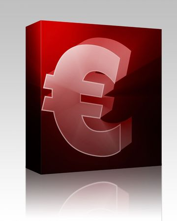 Software package box Euro currency symbol illustration, glowing light effect illustration