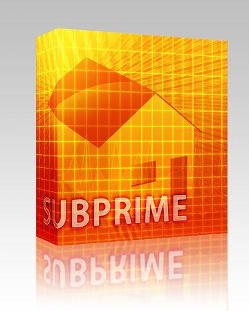 Software package box House financing digital collage illustration, subprime loan Stock Illustration - 6279283