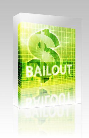 Software package box Software package box Bailout Finance illustration, dollar symbol over financial design illustration
