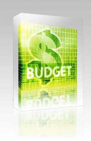 Software package box Software package box Budget Finance illustration, dollar symbol over financial design illustration